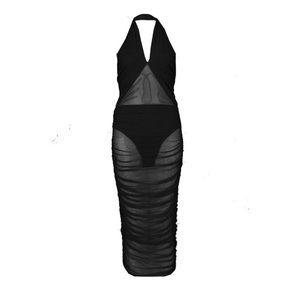 580f9eacc8d6b Boohoo Dresses - Boo Hoo Lillie Cross Neck Mesh Ruched Midi Dress